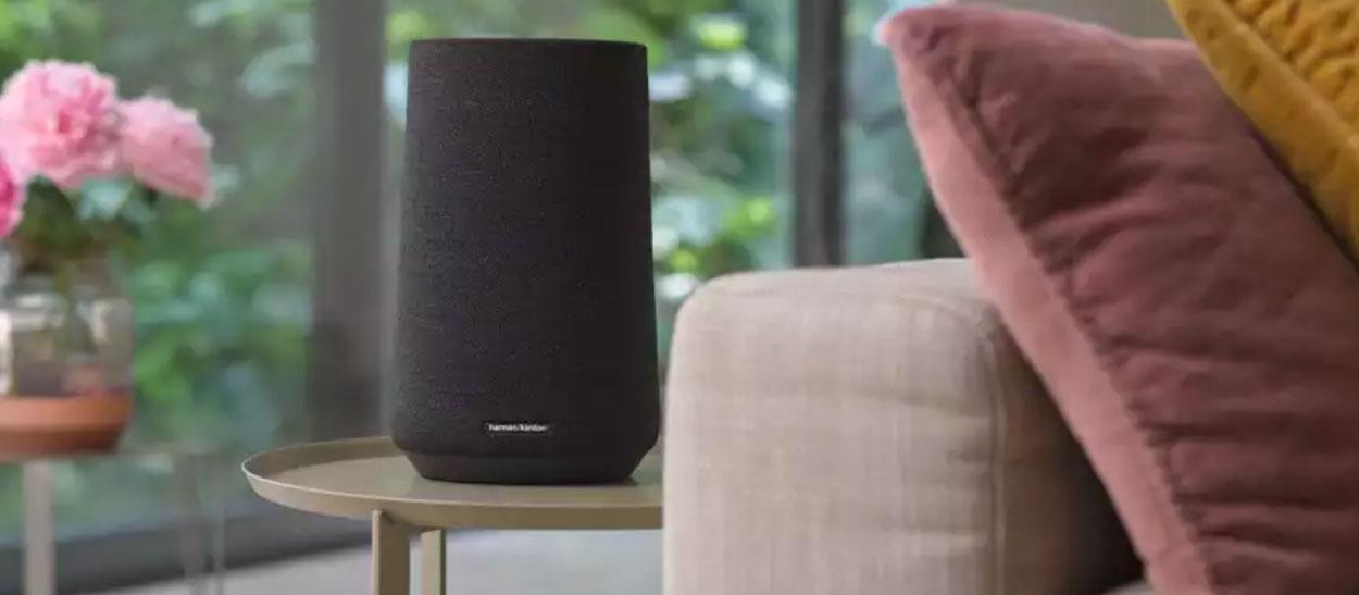 smart speaker on side table by sofa