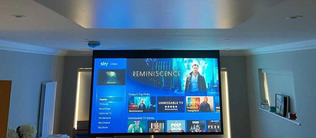 projector screen showing sky in living room