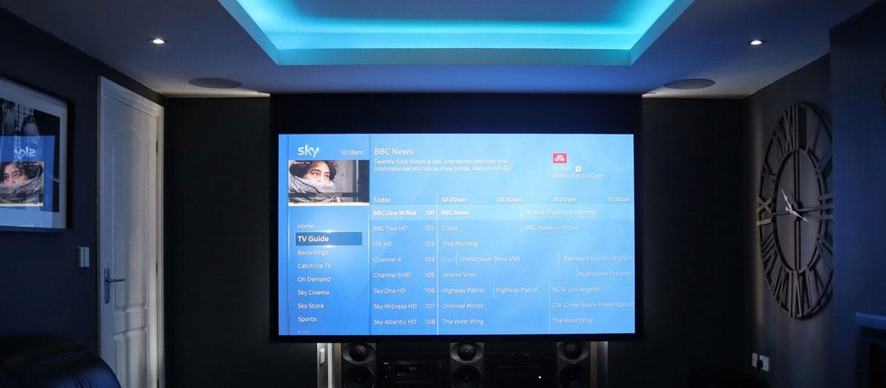 projector with sky TV