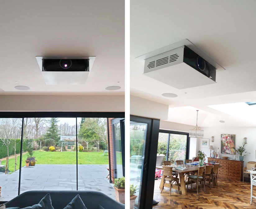 Projector lift in ceiling