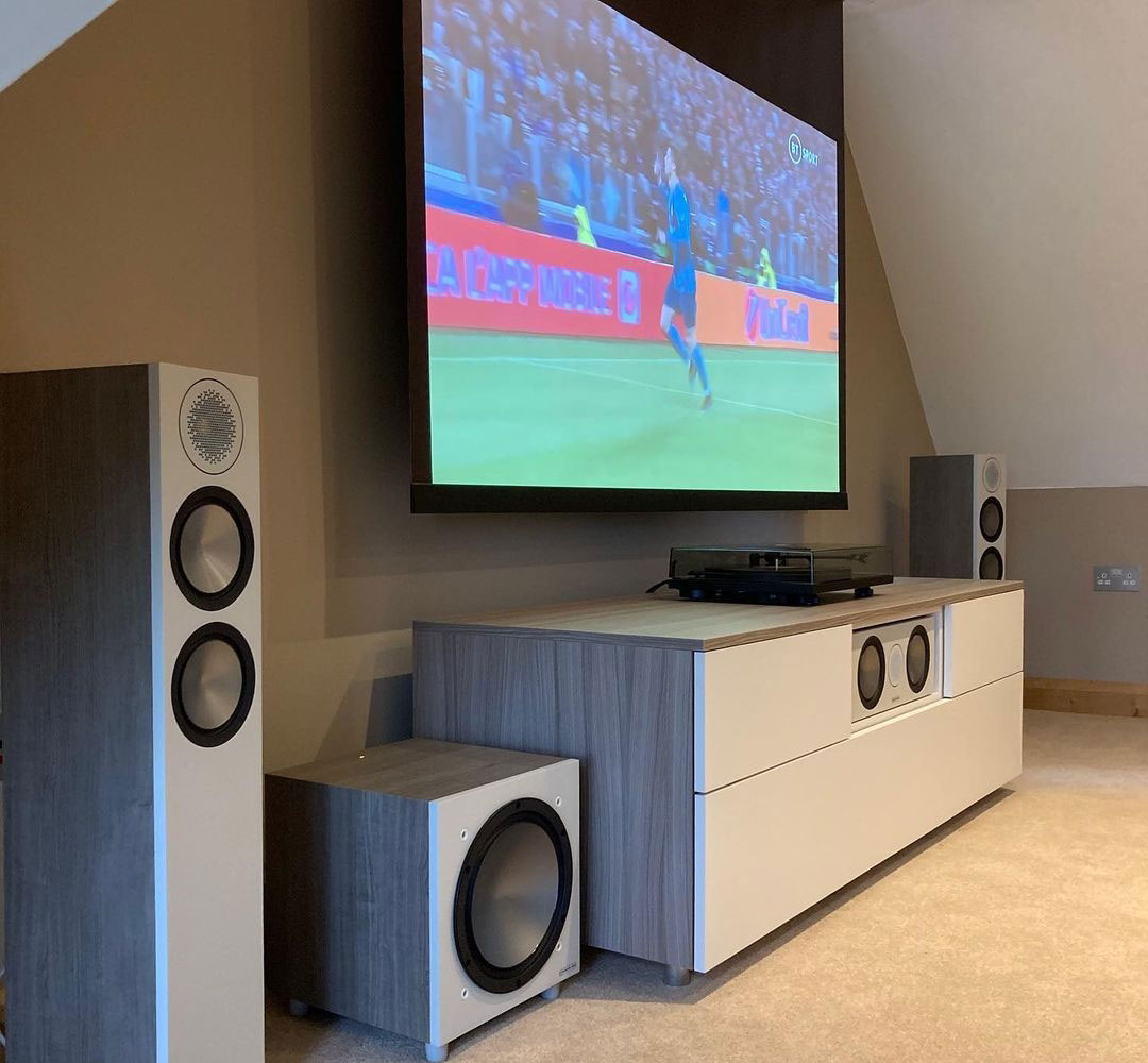 projector screen and bespoke media unit