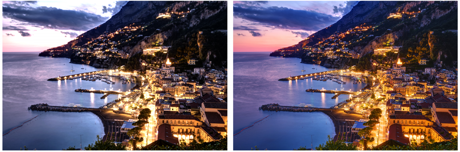 two comparison images of a coast at night with lights, the left has bad quality, the right has good quality
