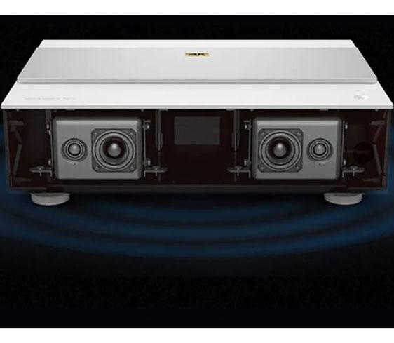 Back of Benq V6000 showing Trevolo speakers