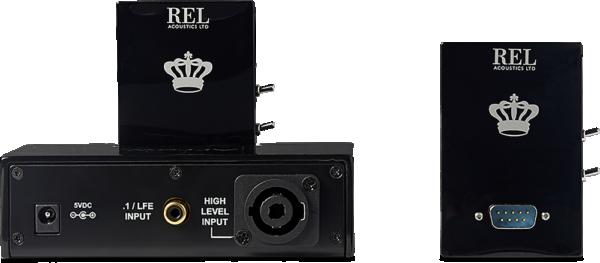 back of a black REL wireless transmitter