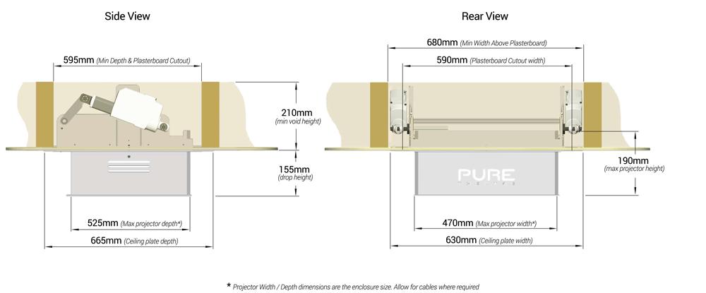 Pure Theatre XL Projector Lift - Lift  Dimensions  X Large