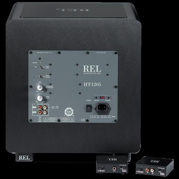 back of black REL wireless transmitter