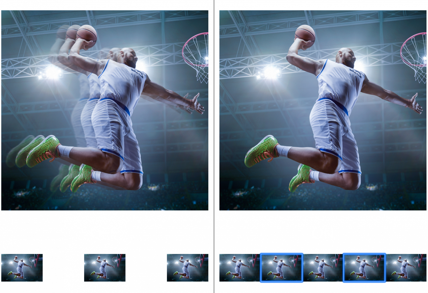 Two images side by side of man playing basketball with different image quality's, the left is blurred, the right is clear