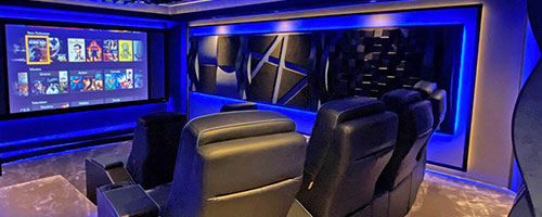 home cinema seating white chairs with black surround