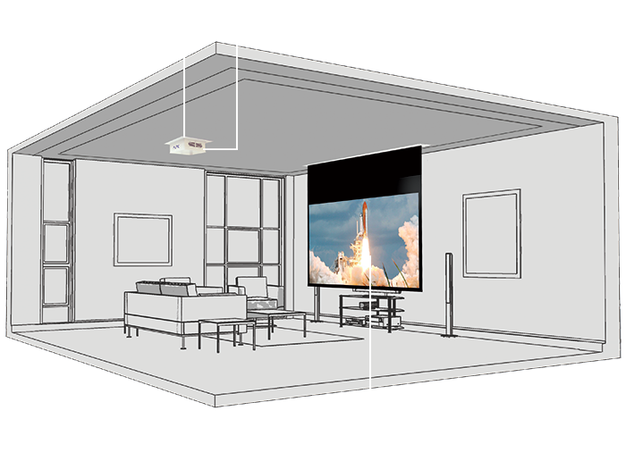 Home cinema cad layout showing projector and screen