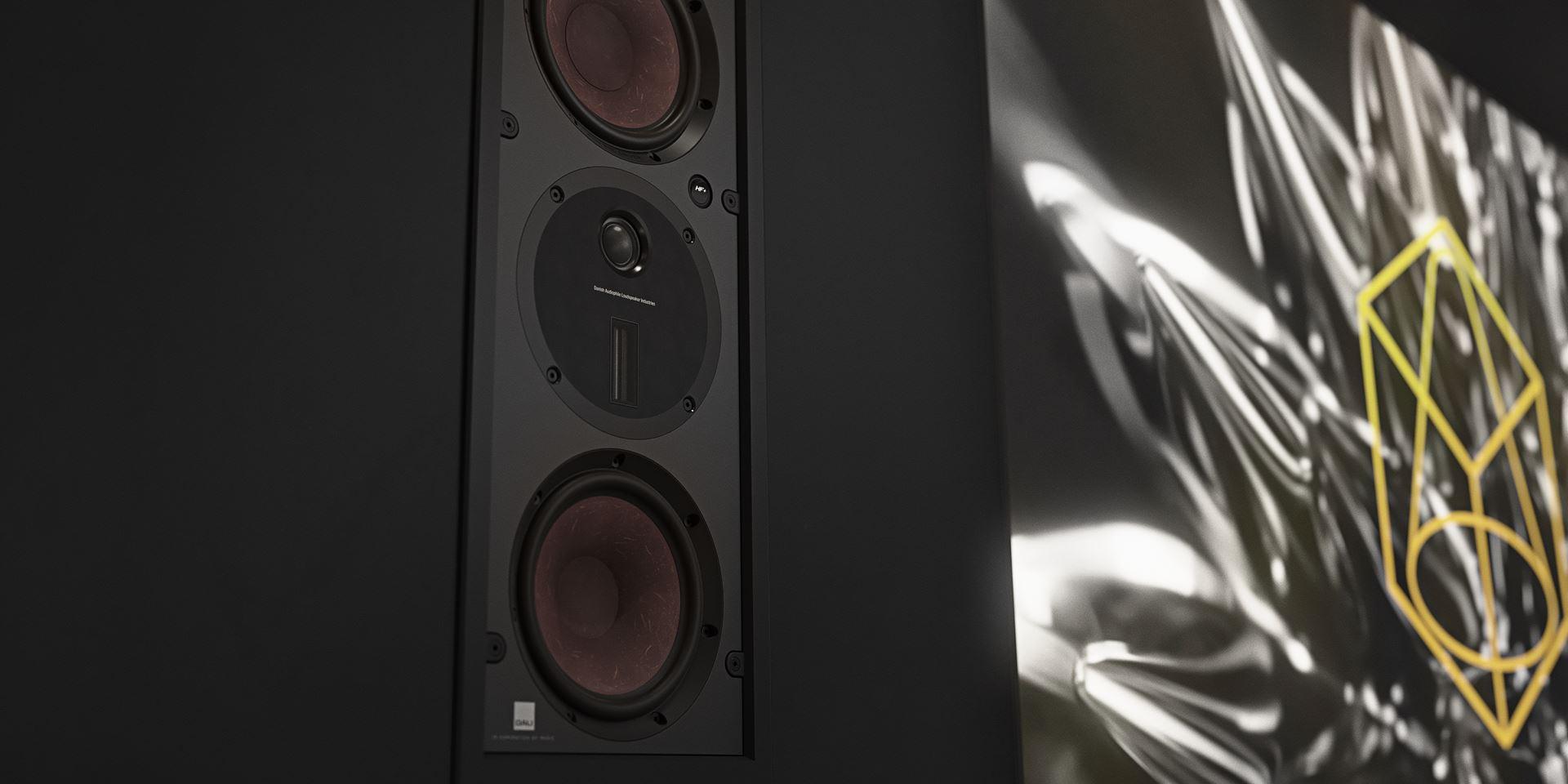 Close up of Dali Phantom M-375 speakers