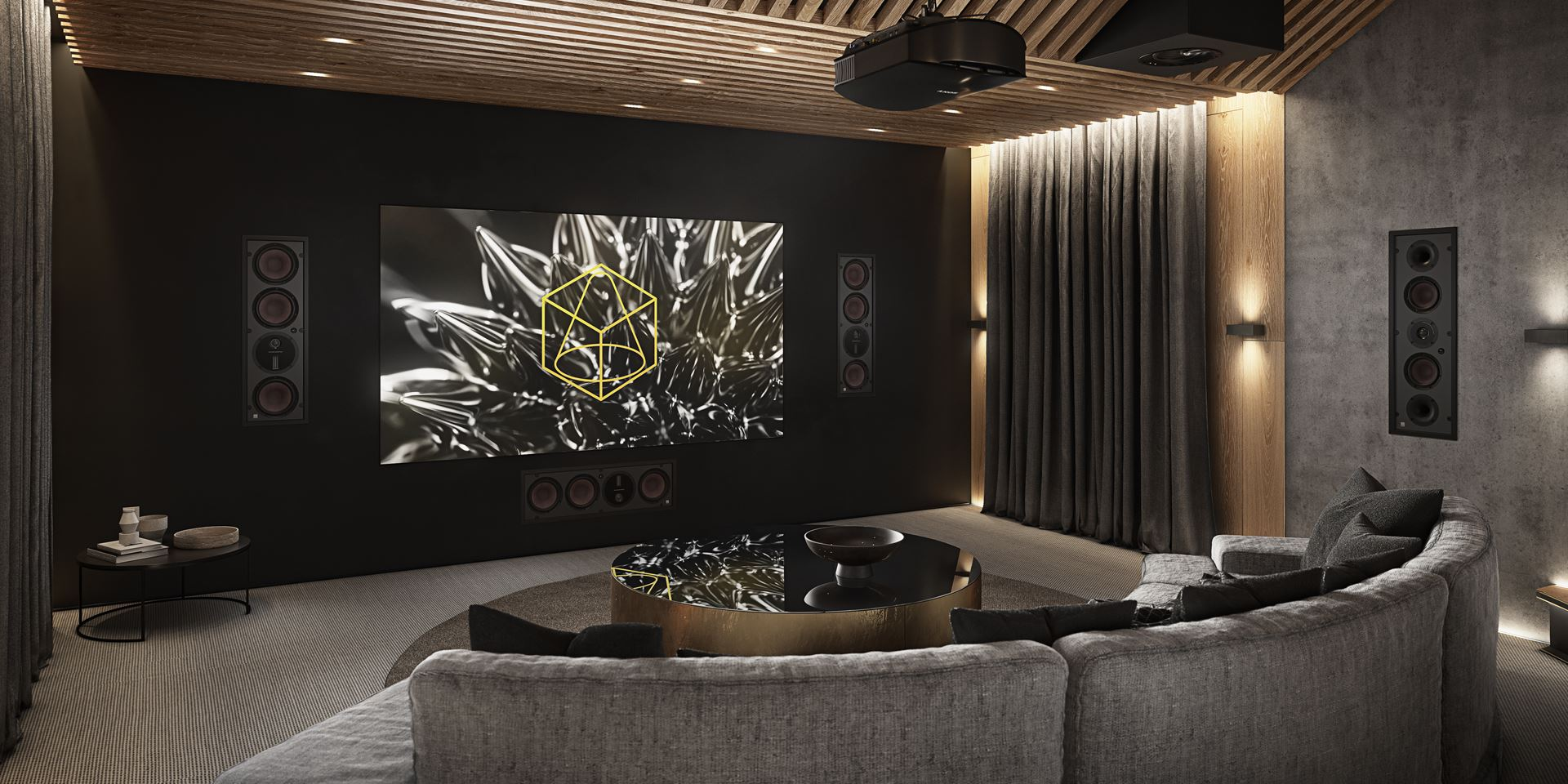 Home cinema room with projector screen and Dali Phantom M-25 speakers
