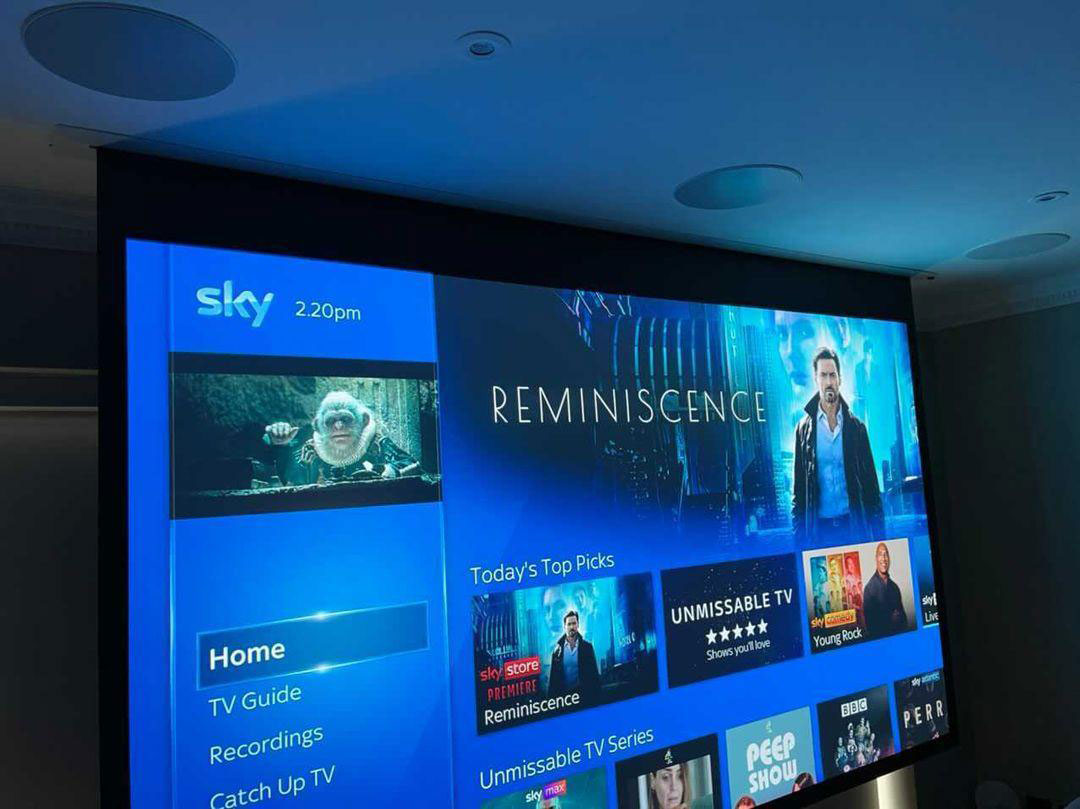 projector screen down showing sky homepage