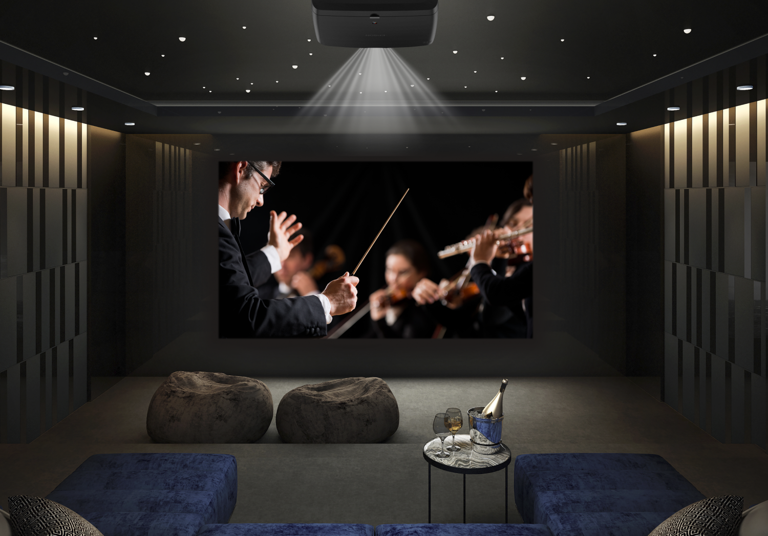 Epson EH-LS12000B Black 4K Laser Projector in a dedicated home cinema room by a blue sofa